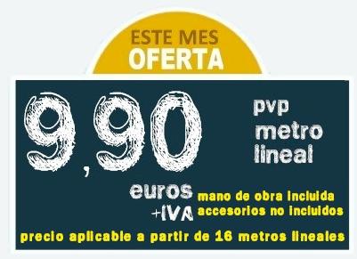 Oferta Canalones: Este mes Oferta | 9,90 PVP Metro Lineal (mano de obra incluida / Accesorios de canalones no incluidos)